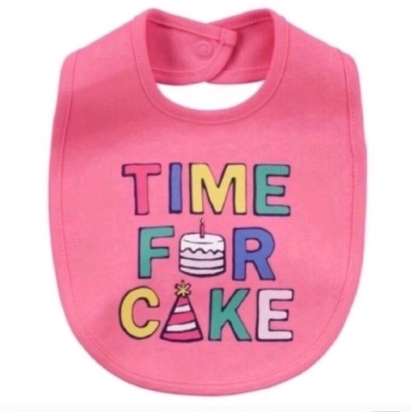 """Other - Baby Girl """"Time For Cake"""" Graphic Bib"""